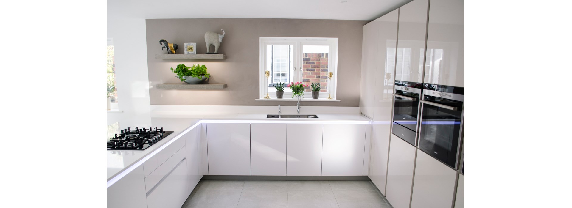 elkins - an led illuminated white kitchen